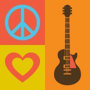 Symbols for peace, love, and a guitar