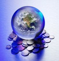 world on a pile of change
