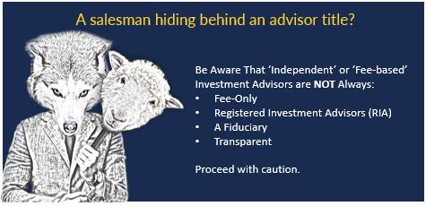 salesman hiding behind an advisor title