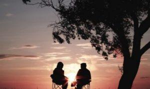 retirement couple enjoying sunset