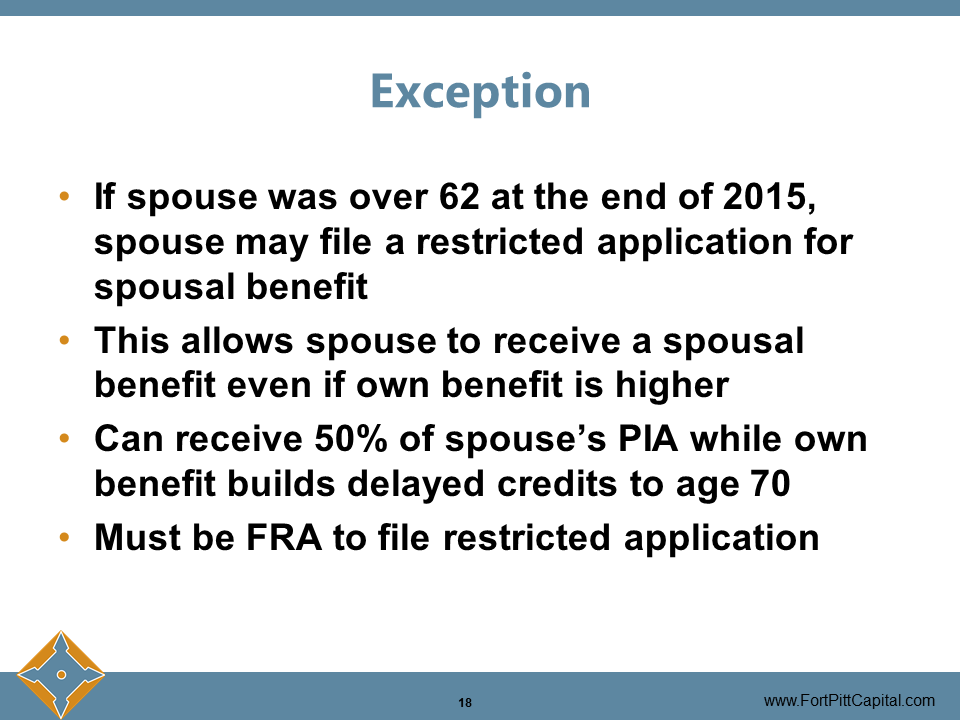 Exception to Spousal Benefits