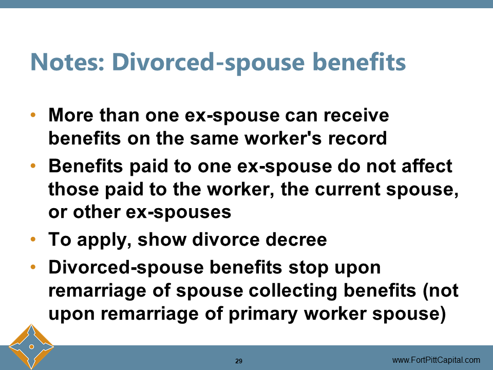 Notes - Divorced Spouse Benefits