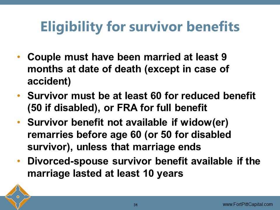 Eligibility for Survivor Benefits