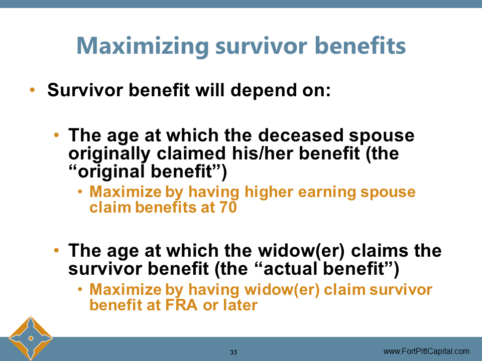 Maximizing Survivor Benefits