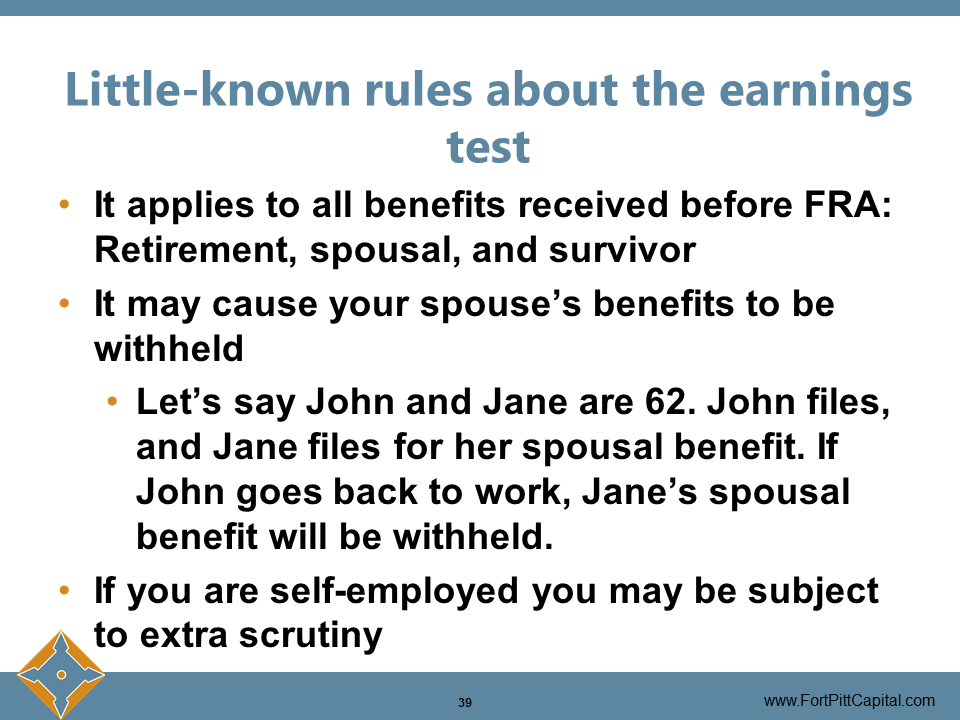 Rules About Earnings Test